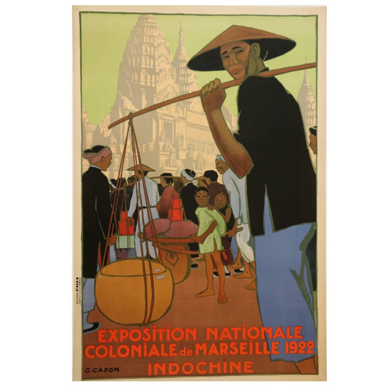 Poster for the 1922 Marseille Colonial Show by Georges Capon, Art Deco, France For Sale