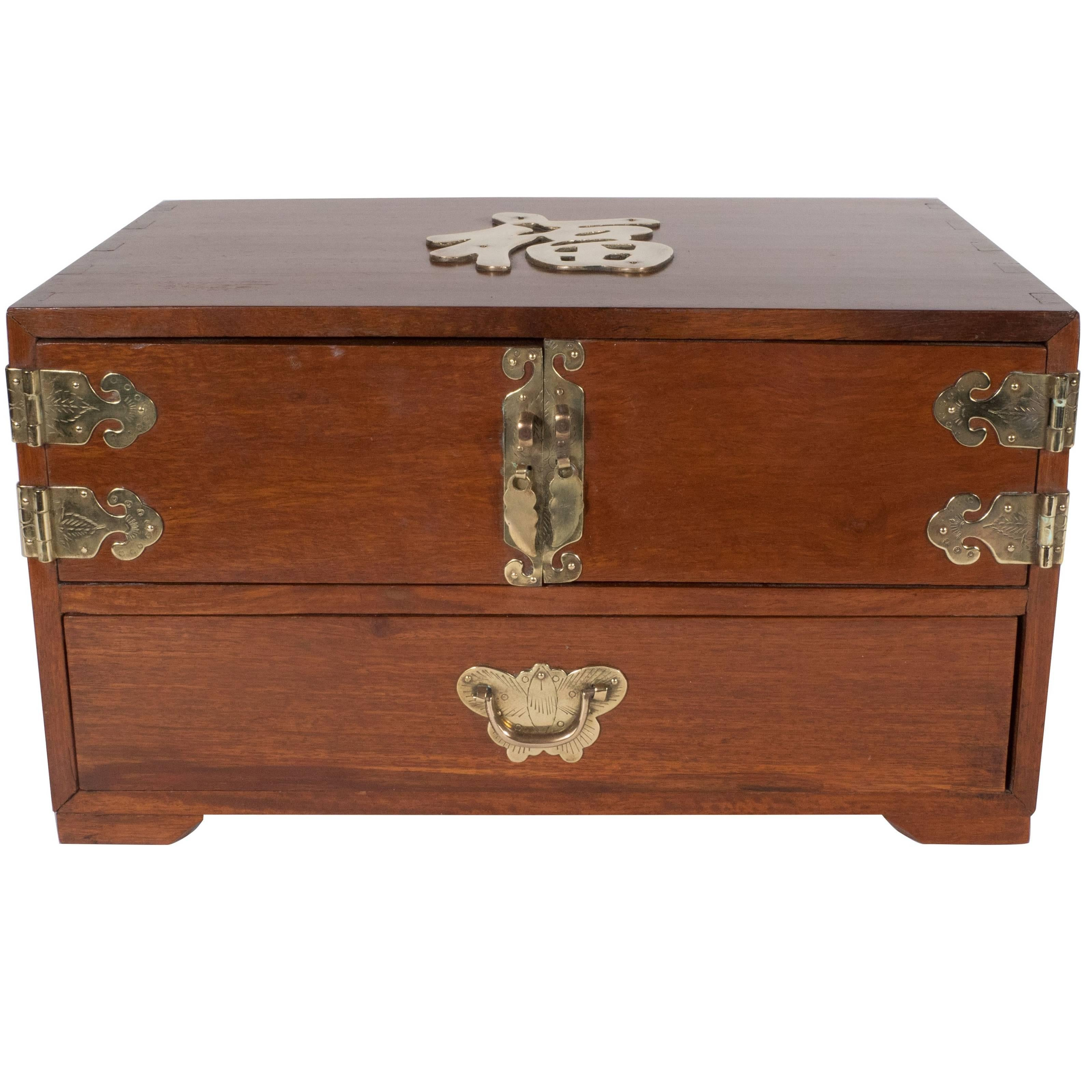 Mid century modern rosewood chinese jewelry box with brass hardware at 1stdibs