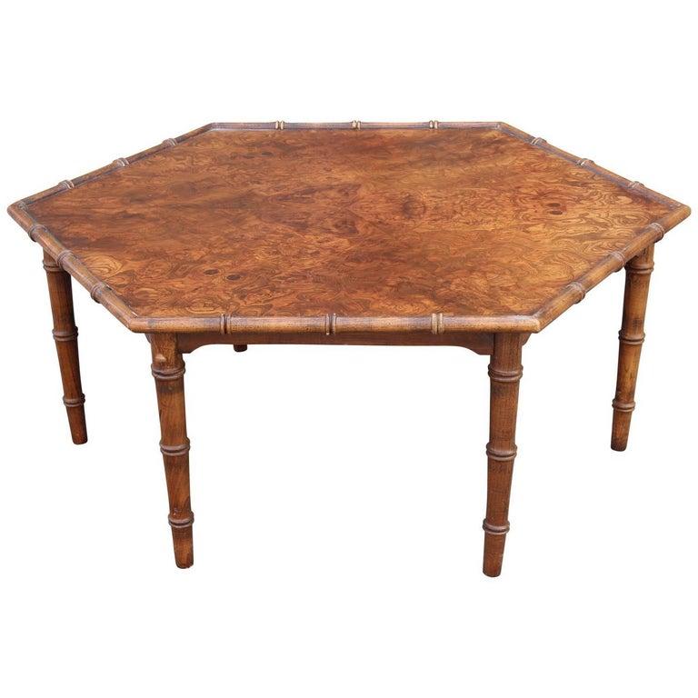 Modern Bamboo Coffee Table: Modern Burl Walnut Or Carpathian Elm Hexagonal Faux Bamboo