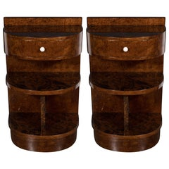 Pair of Art Deco Demilune Book-Matched Exotic Wood Nightstands or End Tables