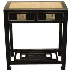 Chinese Black Lacquered Console with Bamboo Top