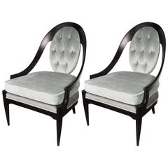 Pair of Mid-Century Modern Spoon Back Occasional Chairs in Ebonized Walnut