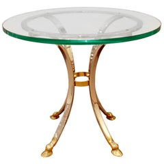 Neoclassical Style End Table in Brass and Steel, 1960s