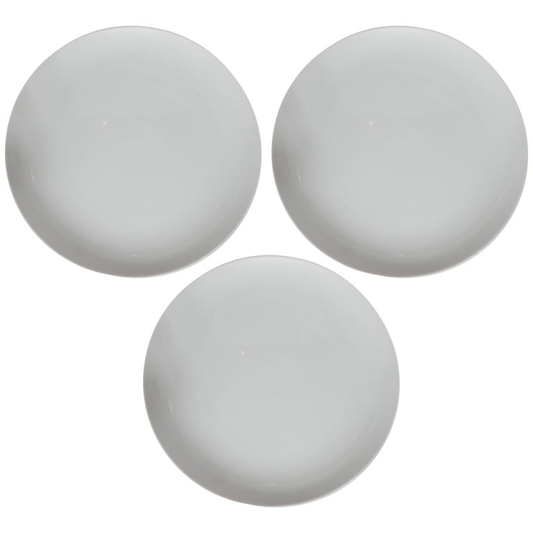 Three Mid-Century Modern White Ceramic Serving Plate by Tiffany & Co.