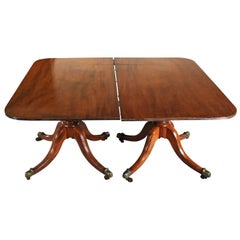 Antique Mahogany Double Pedestal Table, circa 1840