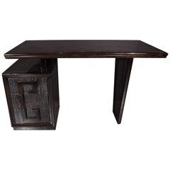 Mid-Century Modern Silver Cerused Oak Desk by Kittenger with Greek Key Motif