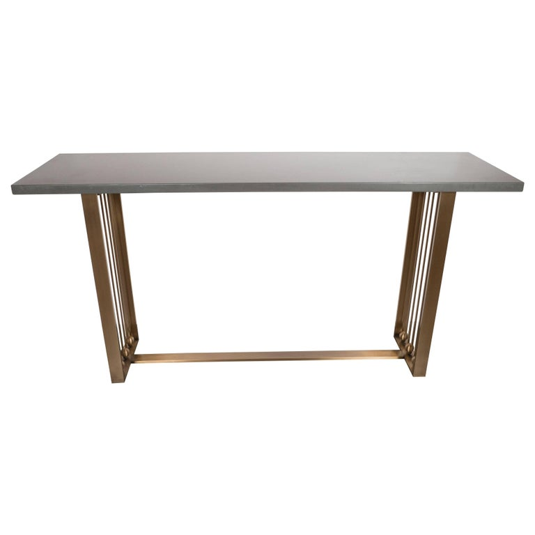 Custom Modernist Brushed Brass and Grey Limestone Console Table For Sale