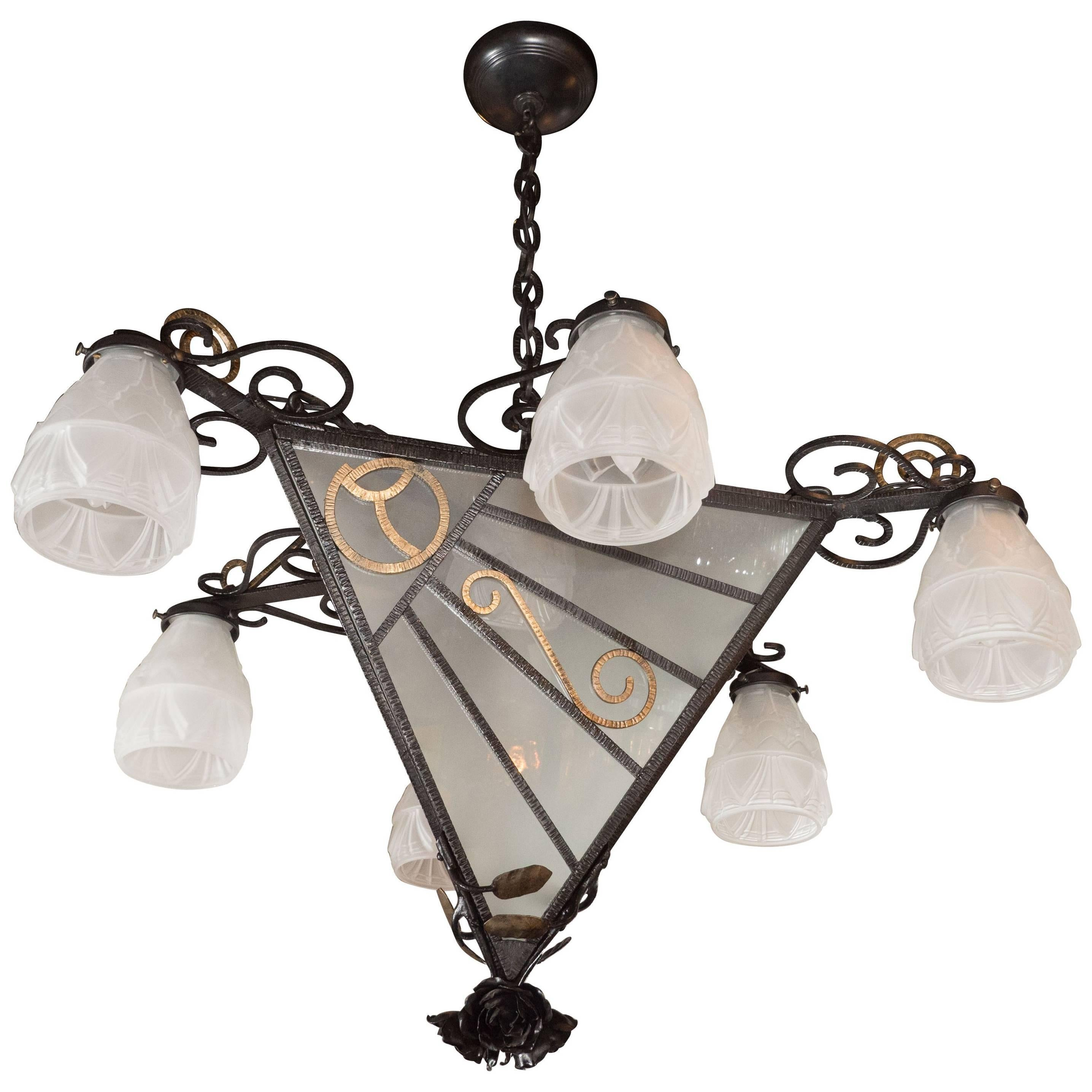 French Art Deco Wrought Iron Six-Arm Chandelier with Rose Finial
