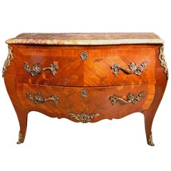 19th Century French Ormolu, Kingwood, Rosewood, Floral Marquetry Commode