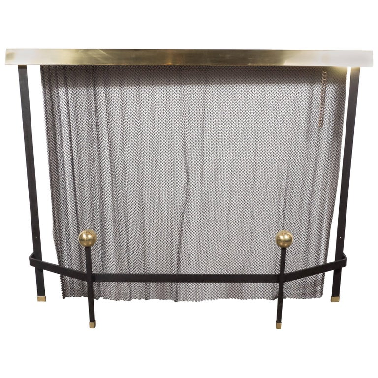 Mid-Century Modern Black Enameled Iron and Brass Fire Screen by Donald Deskey