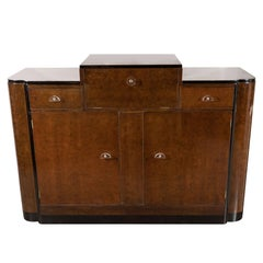 Streamlined Art Deco Bar/Cabinet in Book-Matched Elm with Plexi Pulls