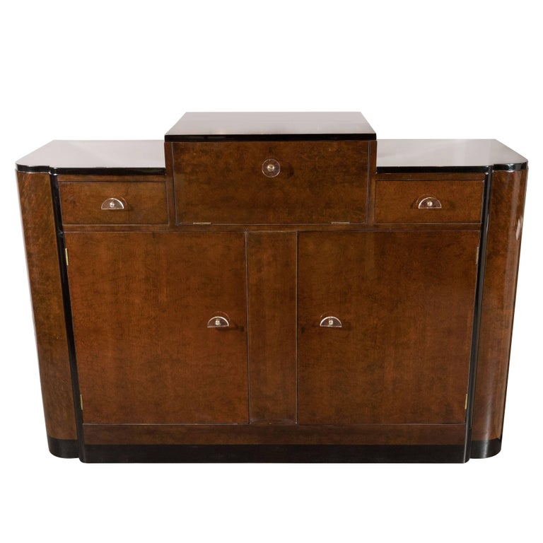 Streamlined Art Deco Bar/Cabinet in Book-Matched Elm with Plexi Pulls For Sale