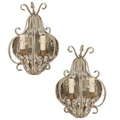 Pair of Italian Mirrored Sconces with Elegant Beaded Armature and Scrolls