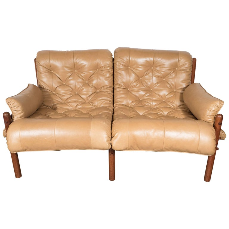 Inca Safari Lounge Sofa in Butterscotch Leather by Arne Norell