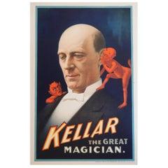 Magic Poster, Kellar the Magician Vintage Original Color Lithograph, 1894