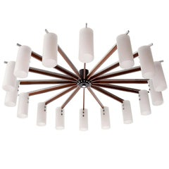 Huge Flush Mount Light Chandelier, Opal Glass Palisander Nickel, Austria, 1970