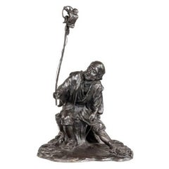 Meiji Period Bronze Group of a Monkey Trainer by Seiya