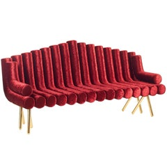 Red Velvet Sofa With Brass Legs