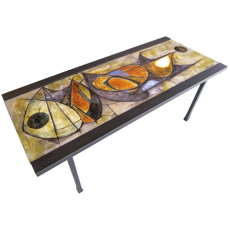 French, Mid-Century Modern Ceramic Coffee Table by Artist Pierre Saint Paul For Sale