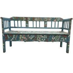 Vintage Hand-Painted Floral European Storage Bench