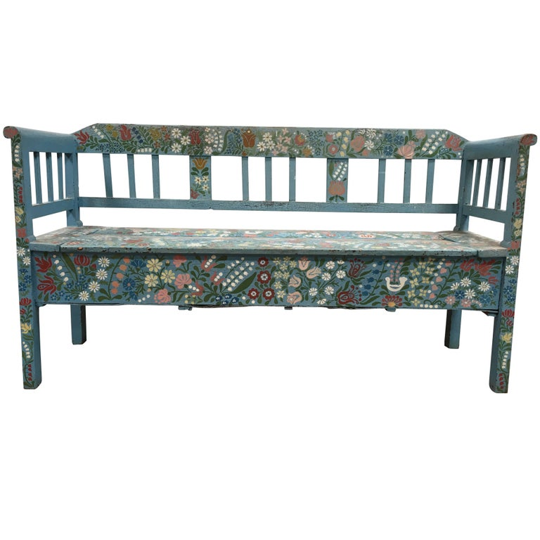 Cool Vintage Hand Painted Floral European Storage Bench At 1Stdibs Evergreenethics Interior Chair Design Evergreenethicsorg