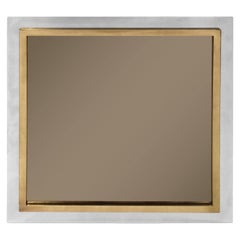 1970s French Square Chrome and Brass Mirror with Smoked Glass