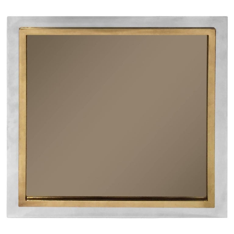 1970s French Square Chrome and Brass Mirror with Smoked Glass For Sale