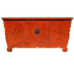 19th Century Red Lacquer Harmony Chest, with Single Solid Slab Top