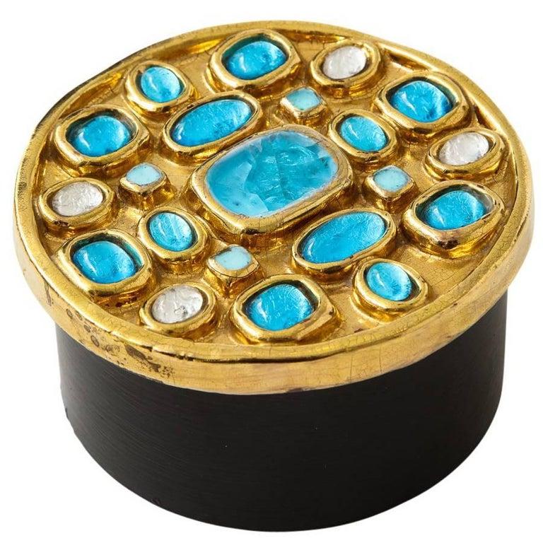 Francois Lembo Ceramic Box Gold Turquoise Jeweled, France, 1970s