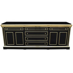 1980s Lacquered Black Sideboard with Bronze Decorations