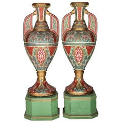 "Pair of ""Glasses of the Alhambra"" of Polychrome and Gold Plaster Decorated"