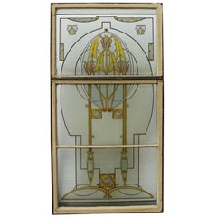 Art Nouveau Hand-Painted Stained Glass Window