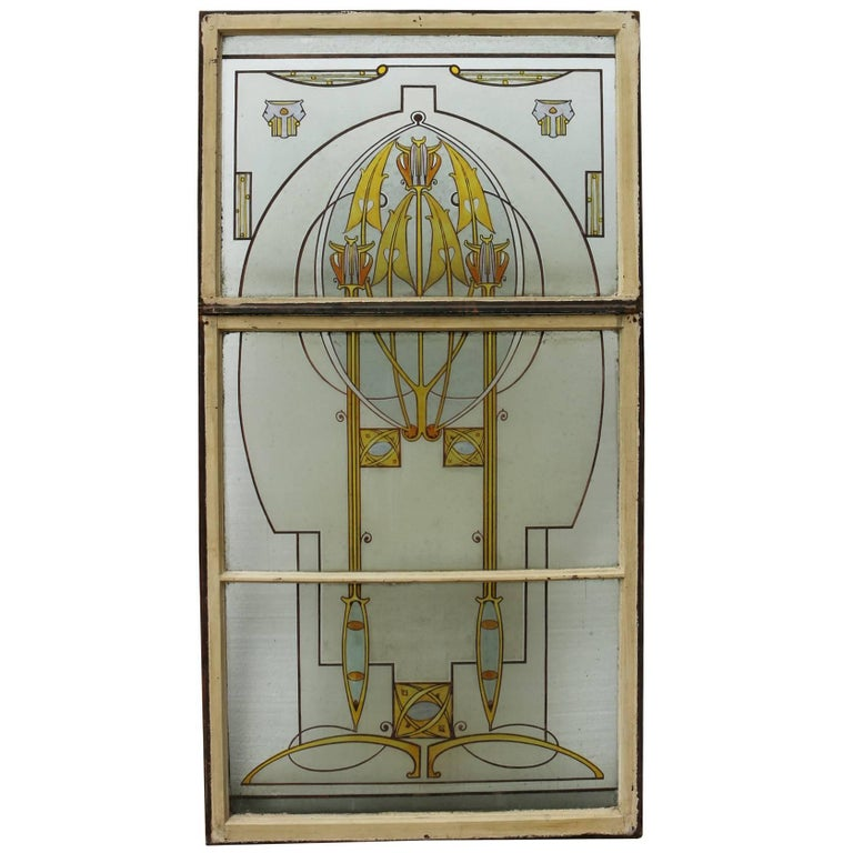 Art nouveau hand painted stained glass window for sale at for Art glass windows