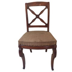Empire-Restauration Walnut Chairs, France, 1820