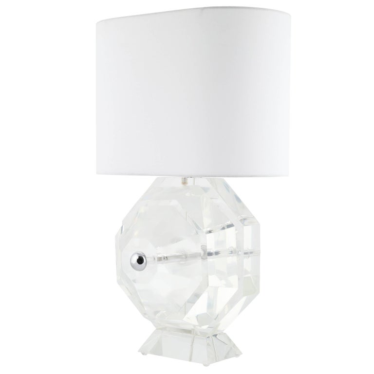 Super-Heavy, Faceted-Lucite Table Lamp, circa 1970s