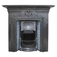 Late Victorian Reclaimed Cast Iron and Tiled Fireplace