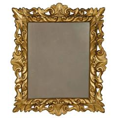 Mid-18th Century Italian Carved Mirror Featuring Original Gilding