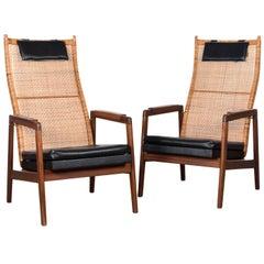 P.J. Muntendam Rattan Black Skai Leather Lounge Chair, Netherlands