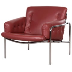 Martin Visser Red Leather Osaka Easy Chair for Spectrum, Netherlands