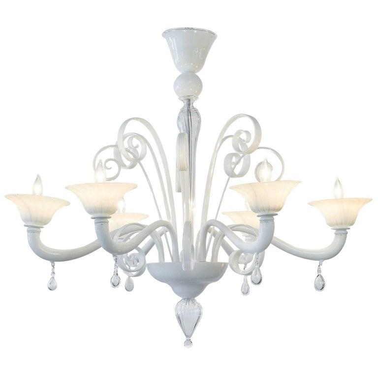 Opaline Murano Glass Chandelier