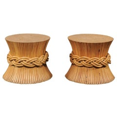 Pair of Sheaf of Wheat Tables Attributed to McGuire, circa 1970s