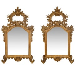 Pair of Italian 19th Century Louis XV St. Finely Carved Mecca Mirrors