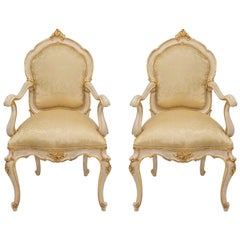 Pair of Italian 19th Century Louis XV St. Patinated and Giltwood Armchairs
