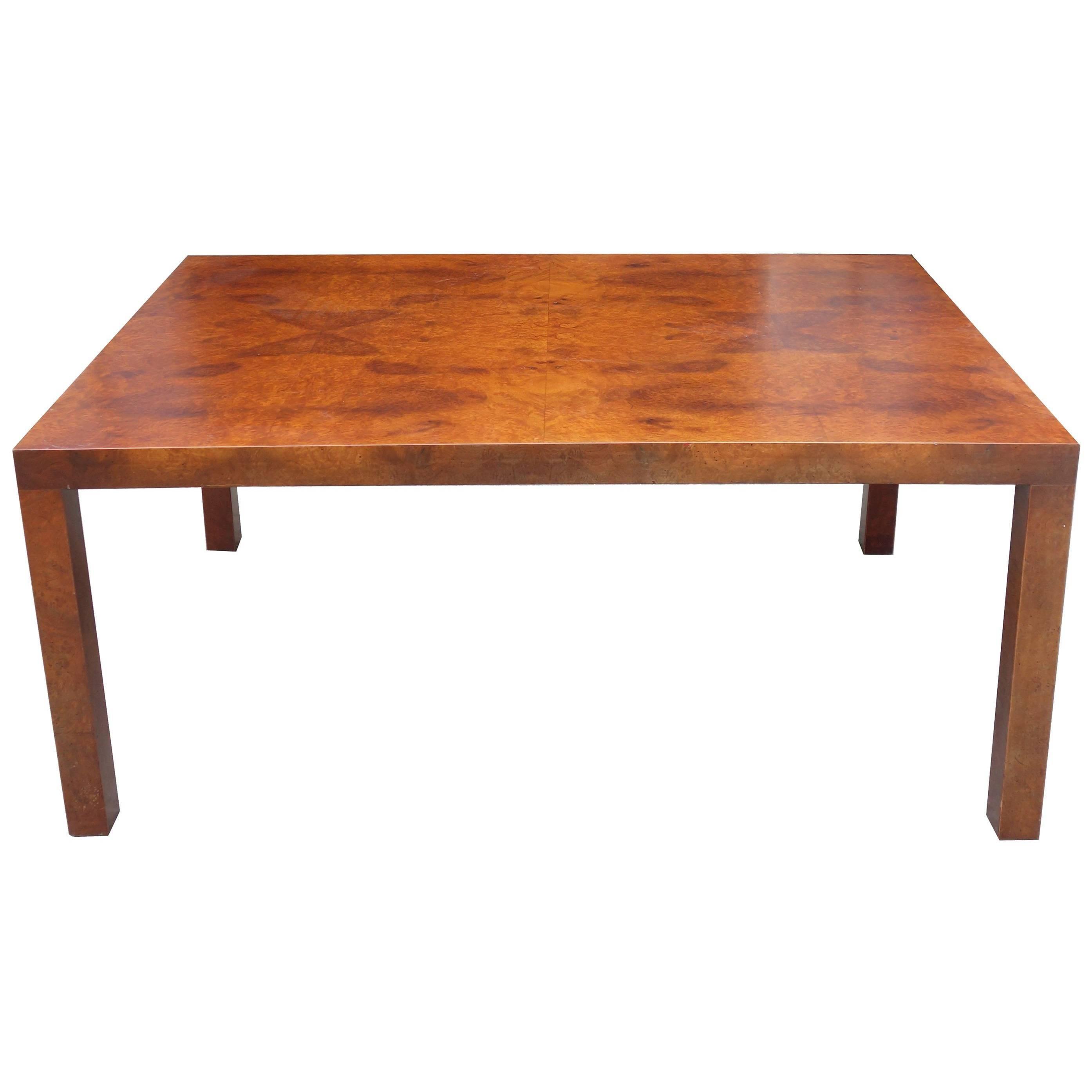 Midcentury Milo Baughman Burl Wood Coffee Table For Sale