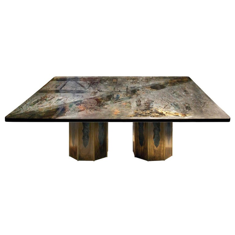 "Philip & Kelvin Laverne Rare ""Chan"" Dining Table, 1960s (signed) For Sale"