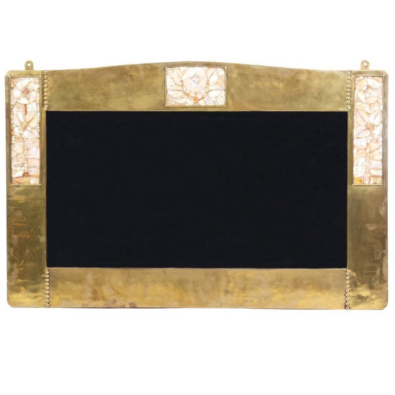 Liberty & Co, a Copper Mirror Inlaid with Glasgow Roses of Mother-of-Pearl For Sale