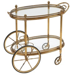 French Brass and Glass Bar Cart, circa 1970