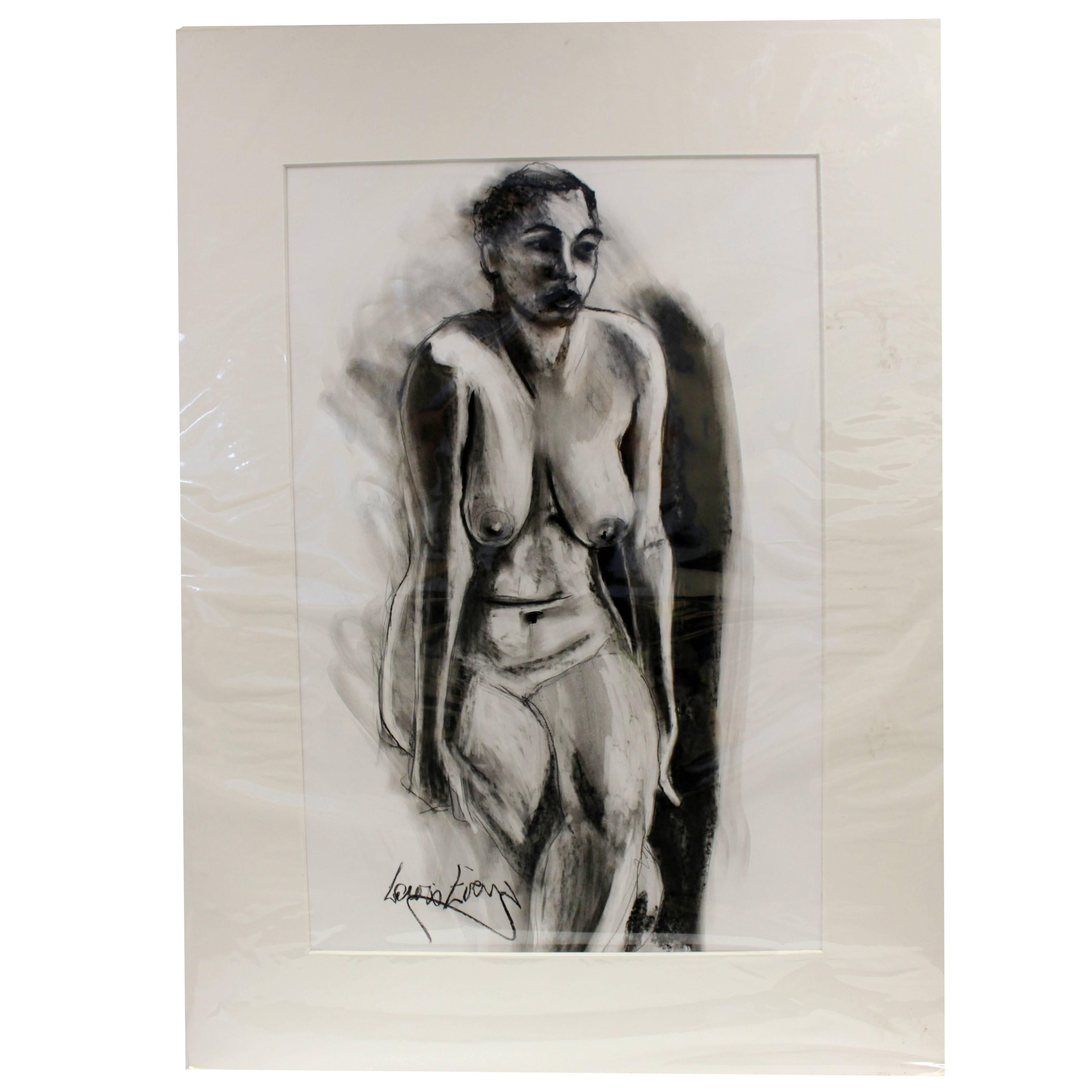 Charcoal Sketch Erotica Scene Painting, Signed by Lewis Evans, circa 1990s