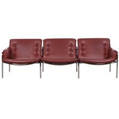 Martin Visser Red Leather Osaka Three-Sofa for Spectrum, Netherlands