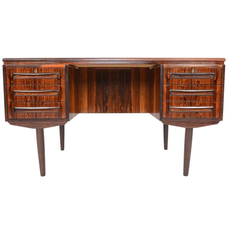 Brazilian Rosewood Executive Desk with Bar